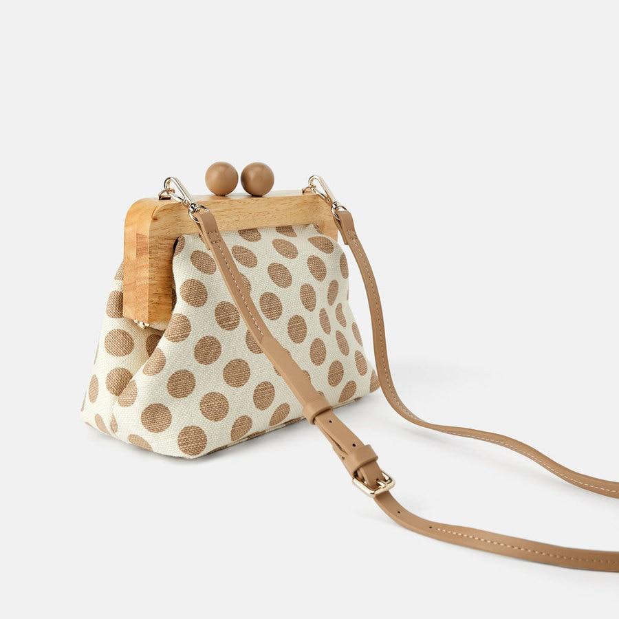 Vintage Wooden Clip Shell Women Crossbody Bags Designer Dot Lady Shoulder Bag Luxury Female Evening Clutch Bag Small Purses 2019