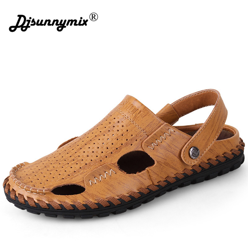 DJSUNNYMIX Brand men sandals slippers genuine leather cowhide male summer shoes outdoor casual leather sandals