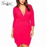 Nemidor Women Deep V Neck Bodycon Elegant Dress 8XL Asymetric Plus Size Wrap Dress