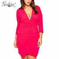 Nemidor Women Deep V Neck Bodycon Elegant Dress 8XL Asymetric Plus Size Wrap Dress