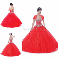 Red Ball Gown Long Quinceanera Dresses 2016 Quinceanera Dress Jacket Beads Top hand Made Beading Quinceanera Gowns New Come AC07