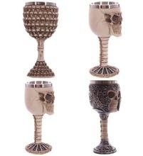 Mittelalterlichen Renaissance 3D Skelett Schädel Weinkelch Knochen Schädel Rüstung Tasse-trinken becher Wein Kelch Harz