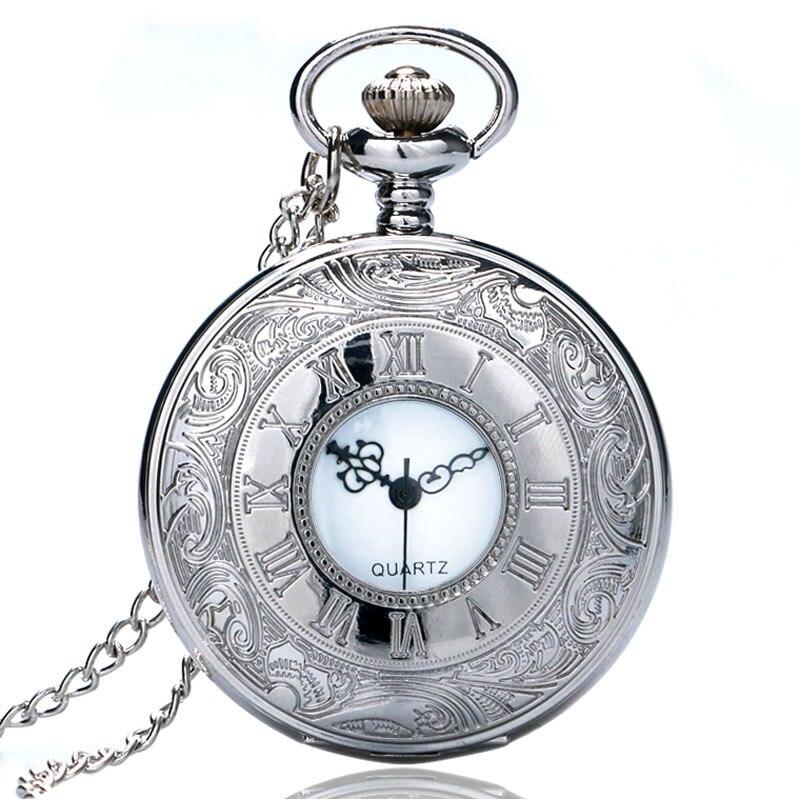 Xmas Gift Silver Necklace Pocket Watch Quartz Vintage Pendant Men Women Antique Style Steampunk Half Hunter Roman Number Case