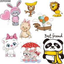 ZOTOONE Lovely Cartoon Animals Iron on Transfer Patches Application Thermo Stickers on Clothes DIY Heat Washable Fusible Patch E