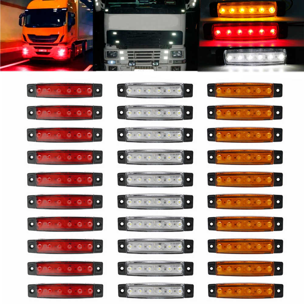 30pcs 24V/12v 6SMD Truck lights led marker light Car Bus Truck Lorry Side Marker Indicator Trailer Light Rear Side Lamp