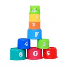 Toddler Kid Play Educational Letters Piles Folding Cup Stacking Bathing Cute Toy Stack Cups цена