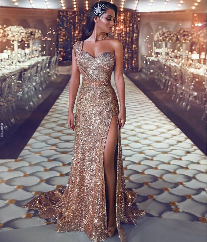 One Shoulder Gold Sequin Long Evening Dresses Saudi Arabic ...