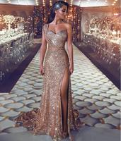 One Shoulder Gold Sequin Long Evening Dresses Saudi Arabic Sweetheart Sexy Slit Long Party Gowns Dubai