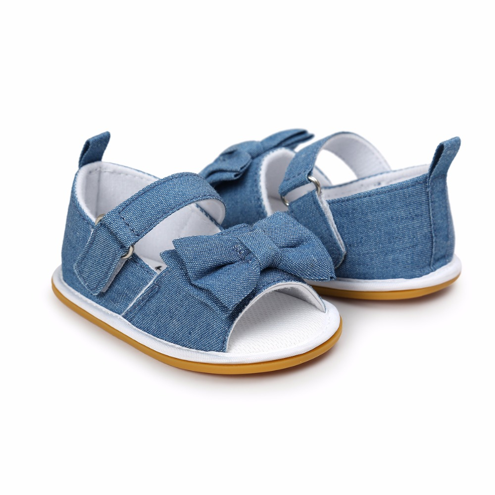 Summer Newborn Baby Girl Sandals Toddlers Prewalkers Solid Butterfly-knot Canvas Rubber Bottom Breathable Baby Shoes Sandals