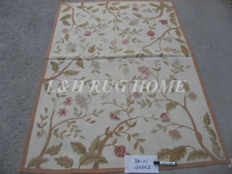 Livraison gratuite 4'X6' laine française Aubusson tapis fait à la main 100% nouvelle-zélande laine tapis et tapis en gros et au détail tapis magasin