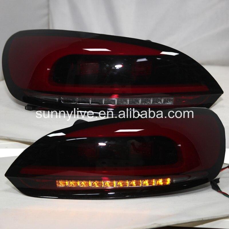 Para VW Scirocco 2009-2014 LED Tail Light Lâmpada Traseira Da JX vermelho Escuro