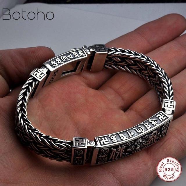 b008eef3d4d91a 100% 925 Silver Men's Bracelet Classic Braided Chain S925 Thai Silver  Bracelet Women's Men's Jewelry Gift Men's charm bracelet