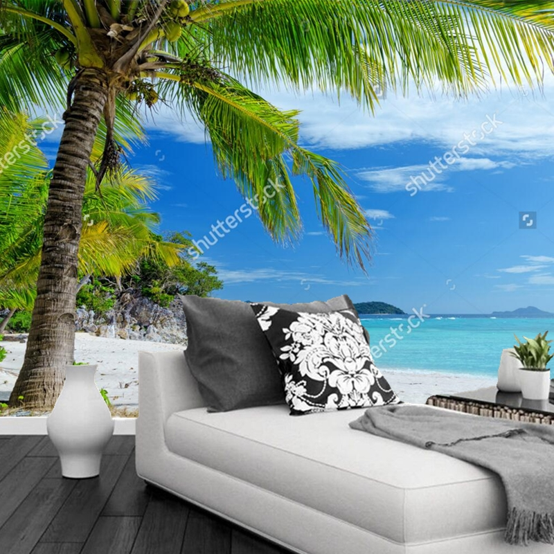 Custom 3D photo wallpaper,Palm Beach Aegean Sea murals for the living room bedroom TV background wall waterproof papel de parede custom wallpaper murals ceiling the night sky for the living room bedroom ceiling wall waterproof papel de parede