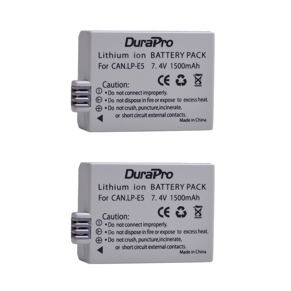 2019 New Style Durapro 2pc 1500mah 7.4v Lp-e5 Lpe5 Lp E5 Rechargeable Camera Battery For Canon Eos Rebel Xs, Rebel T1i ,rebel Xsi ,1000d,500d