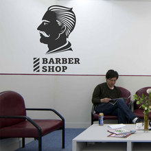 Barbershop Wall Decals Sign Face Man Barber Shop Wall Sticker Vinyl Window Decor Hair Salon Murals Wallpaper Interior A146 цены онлайн