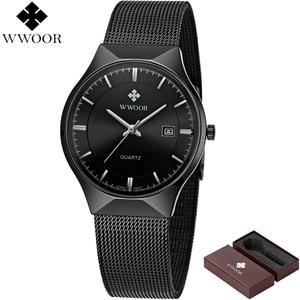 Image 2 - Men Watches Top Brand Luxury WWOOR Simple Slim Date Quartz Watch Men Wristwatch Business 블랙메쉬 남성 Watch Relogio Masculino
