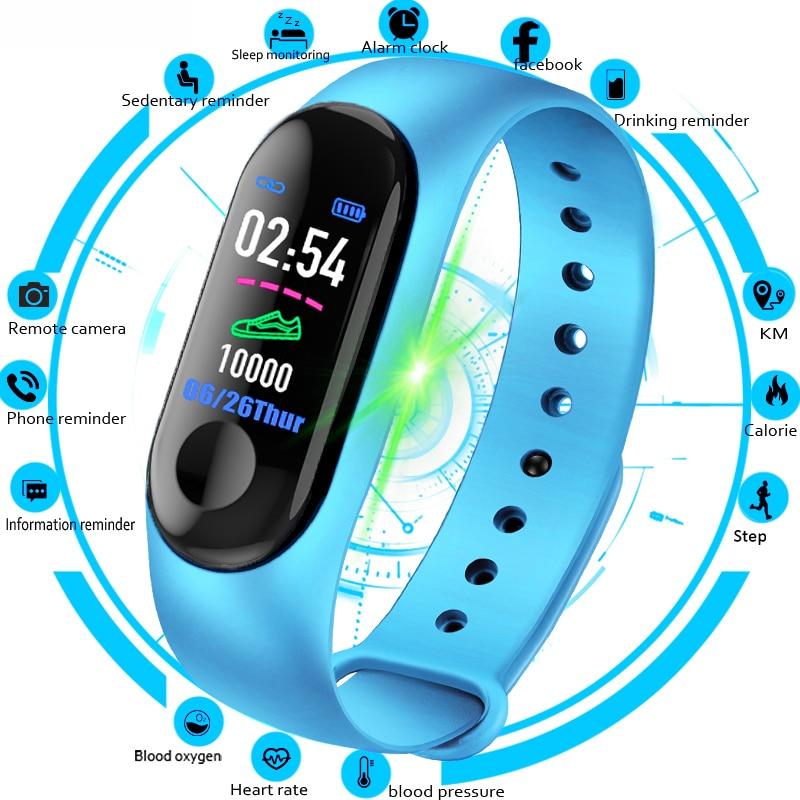 M3 relógio inteligente pulseira banda fitness rastreador mensagens lembrete tela colorida à prova dwaterproof água esporte pulseira para homens
