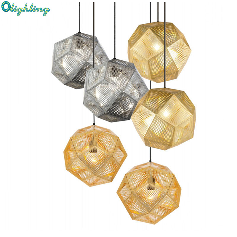 Modern geometry Replica Etch Stainless Steel Hanging Pendant Lamp Gold Silver Copper Ball Pendant Light E27 for Restaurant литой диск replica fr lx 98 8 5x20 5x150 d110 2 et54 gmf