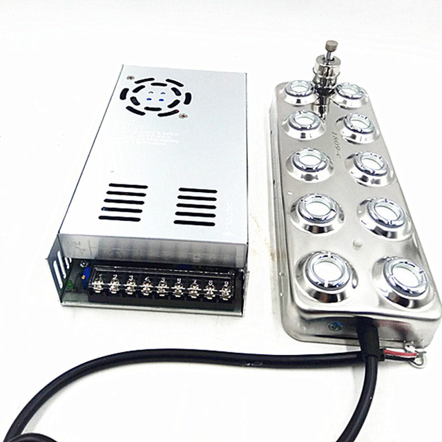 Atomizador ultrasónico Industrial DC 48V, 10 cabezales, humidificador, máquina de niebla 5 Kg/H, generador de niebla ultrasónica para hongos