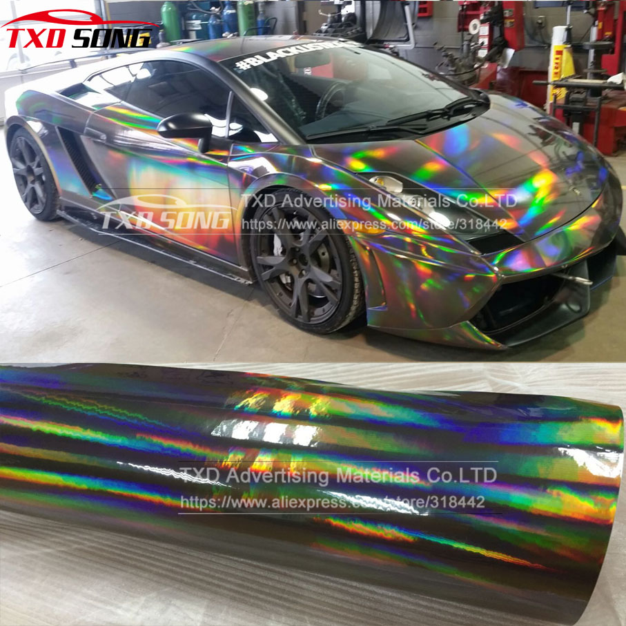 Car sticker wrap singapore - 20x49cm Lot Premium 3 Layers Rainbow Black Chrome Holographic Vinyl Wrapping Film Bubble Free For