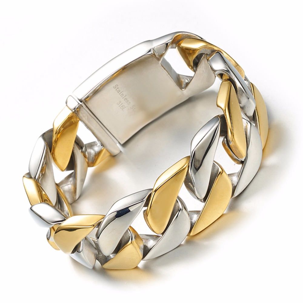 Mode Lourd Hommes Curb Chain Cuban Link Bracelet Pour Hommes Garçon Hommes Argent Or 316L Acier Inoxydable Bracelet 26mm bijoux Cadeau