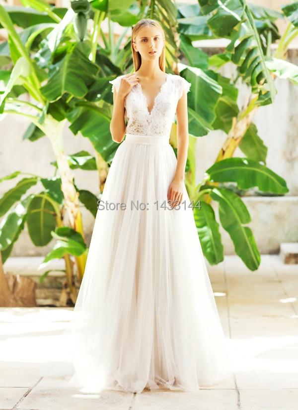 brand design deep v neck wedding dresses 2015 tulle a line long lace appliques top beach