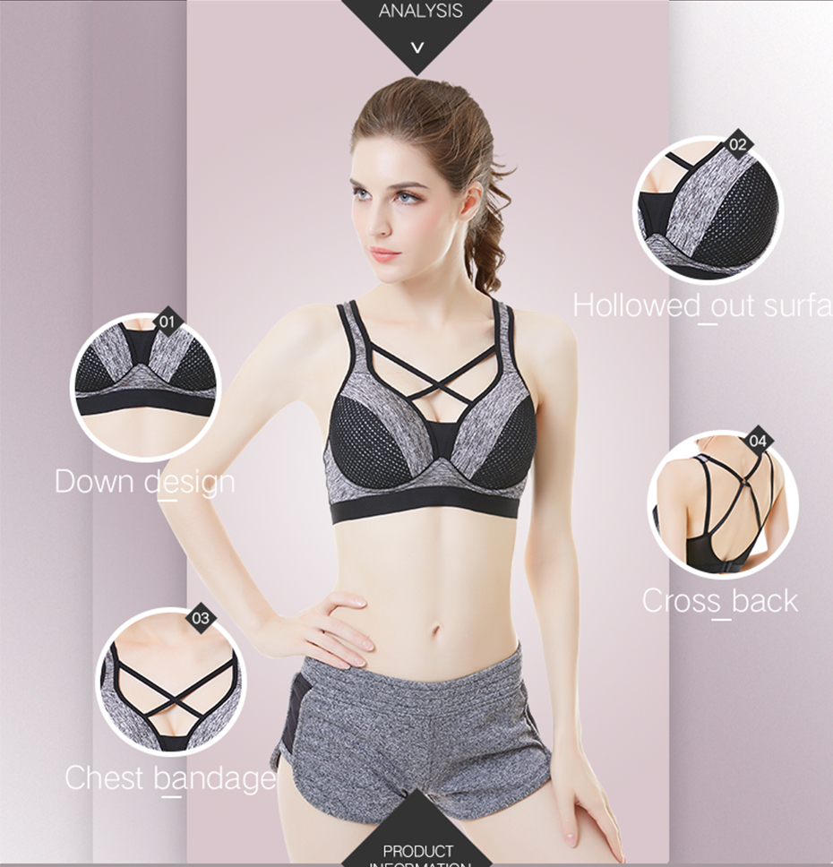 b995125044a60 THUNSHION Sexy Cross Strappy Backless Sports Bra Fitness Women Bra Yoga  Mesh Crop Top Bra Patchwork Daily Wear Top Underwear