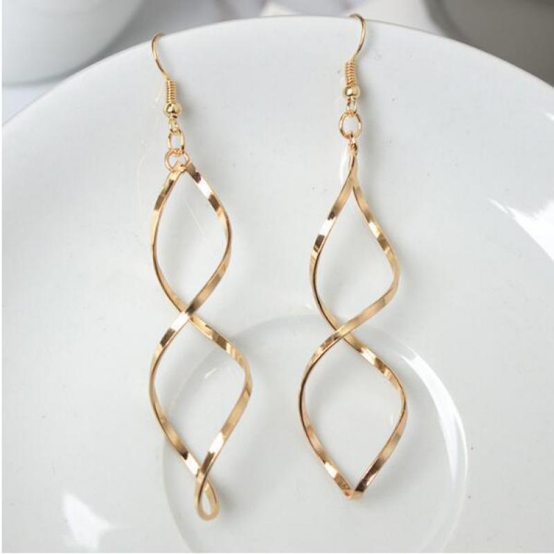 The New Minimalist Spiral Curled Silver Earrings, Design Sense Of Wave Curve Gold Drop Earrings Female Jewelry Long Earrings