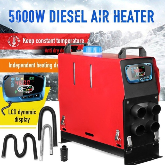 12v 5000w Air Diesel Heater 4 Holes Monitor Planar For Trucks Boats Bus Blue LCD Switch Low Emissions Low Fuel Consumption