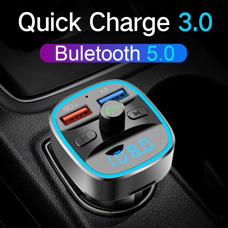 Carregador de carro carro mp3 player QC3.0 CDEN Bluetooth 5.0 transmissor FM U disk/TF cartão de música lossless hands- chamadas gratuitas