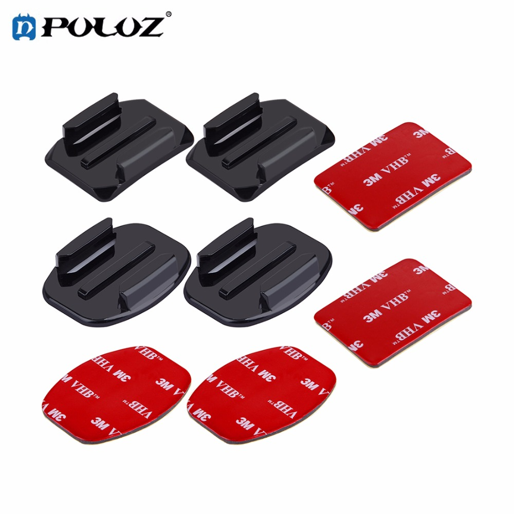 2 Curved Surface Mounts + 2 Flat Surface Mounts + 4 3M Stickers For Go Pro Accessories f ...