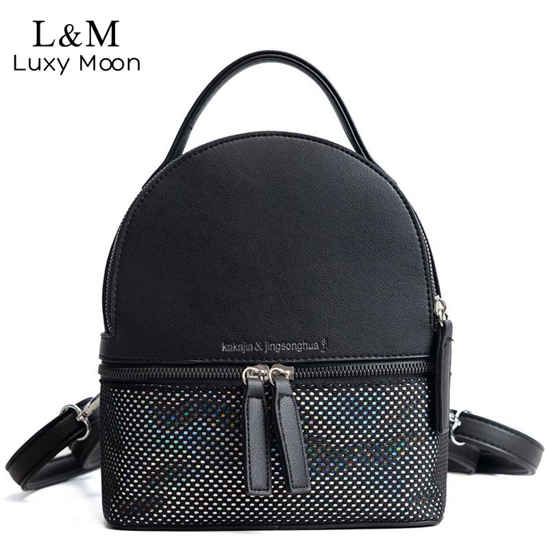 Luxy moon Mini Solid Leather Backpacks For Teenager Girls Female Fashion Black Small Travelling Bag Zipper Letter Bags XA389H striped travelling carrying bag for cats small