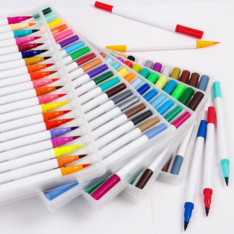 100 Color Washable Watercolor Pen Art Marker Double-headed Water-color Pens Set Soft Head Art Brush Painting Supplies100 Color Washable Watercolor Pen Art Marker Double-headed Water-color Pens Set Soft Head Art Brush Painting Supplies