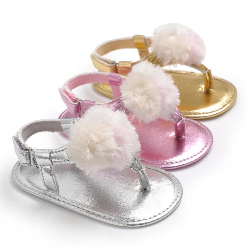New Baby Girls Summer Fashion Breathable Round Fluff Decoration Shoes Anti-slip Flip Flop Newborn Sandals 0-18M