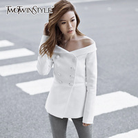 TWOTWINSTYLE Off Shoulder Coat For Women Double Breasted High Waist Slim White Long Blazer Female 2018 Spring Fashion Clothing