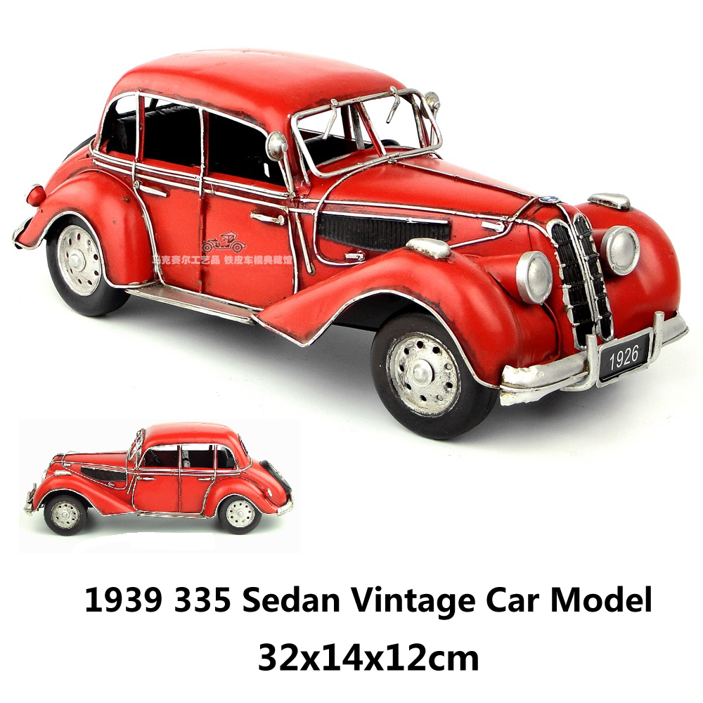 1939 335 Sedan Vintage Car Model Red handmade metal car model home ...