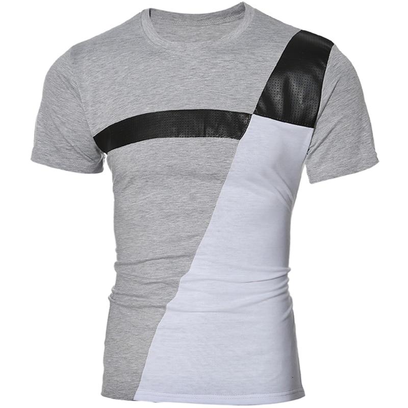 Tshirt 옴므 2017 짧은 소매 바느질 크루 넥 슬림 남성 티셔츠 Camisetas 패션 아저씨 티 셔츠 옴므 캐주얼 남성 T 셔츠