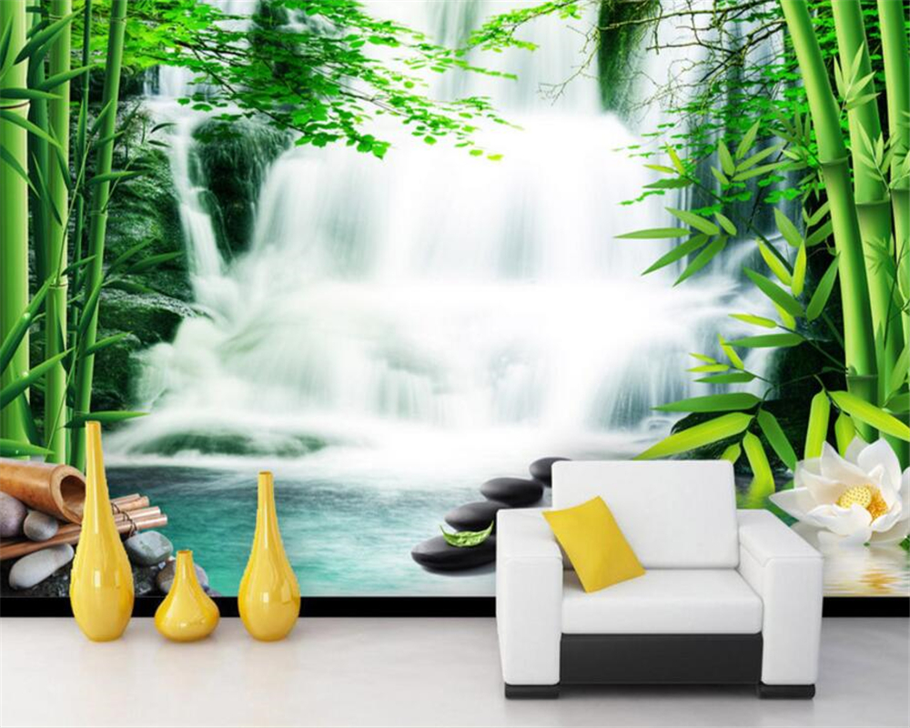 Beibehang Custom wallpaper living room bedroom murals bamboo forest springs waterfalls lotus flower TV backdrop 3d wallpaper book knowledge power channel creative 3d large mural wallpaper 3d bedroom living room tv backdrop painting wallpaper