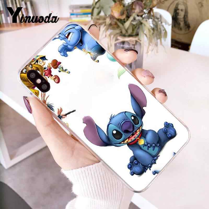 Yinuoda 아이폰 7 6 x의 경우 사랑스러운 stich 투명한 전화 커버 케이스 아이폰 8 7 6 6 s 플러스 x 5 5 s se xr xs xsmax