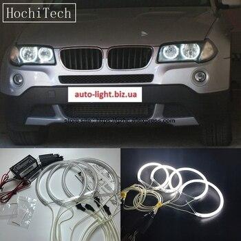 цена на HochiTech For BMW E83 X3 2003-2010 Ultra Bright Day Light DRL CCFL Angel Eyes Demon Eyes Kit Warm White Halo Ring
