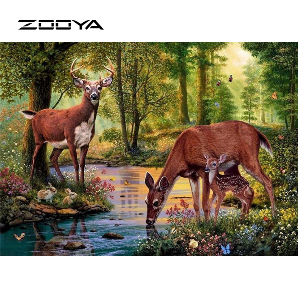 ZOOYA Diamond Painting Full Drill 5D DIY Runda Mosaic Diamond Broderi Hantverk Nålverk Set Scenic Forest Animal Deer RF1397