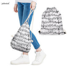 Jackherelook Music Notes Printed Woman Man Backpacks Casual Students Softback Drawstrings Bags Women Mocila White Black Sack Bag