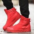 Мужчины Зима Кожаные Ботинки Тенденция Моды Кожа Высокие Топ Повседневная Квартиры Марка Man Тренеры Суперзвезда Корзина Красный Обувь Сапоги