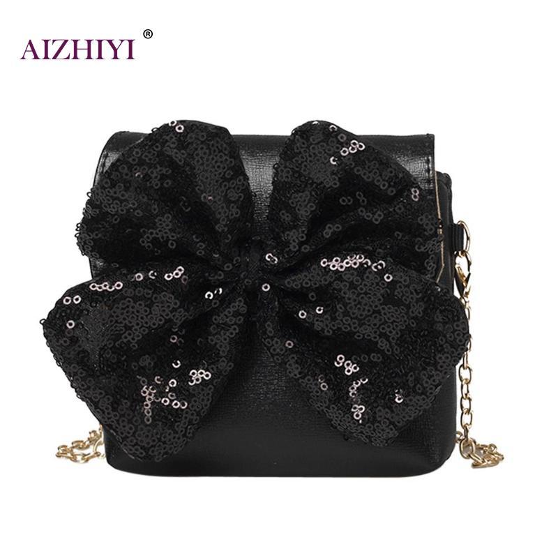 Fashion Bowknot Messenger Bag for Baby Girl Shining Sequins Shoulder Princess Girl Long Chain PU Leather Handbags Crossbody Bag