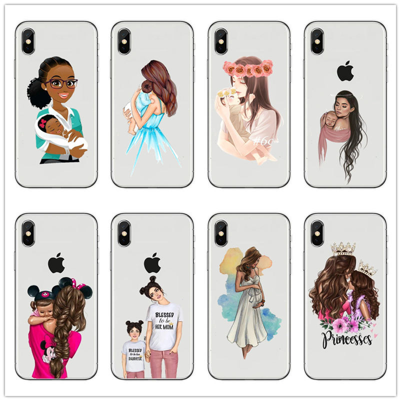 Black Brown Hair Dear Baby Mom Girl son Queen 01 princess Silicone Phone Case cover For iPhone 7 <font><b>6</b></font> 6s 8 Plus X XR 5 mommy coque image
