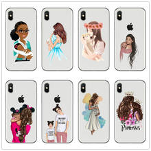 Black Brown Hair Dear Baby Mom Girl son Queen 01 princess Silicone Phone Case cover For iPhone 7 6 6s 8 Plus X XR 5 mommy coque(China)
