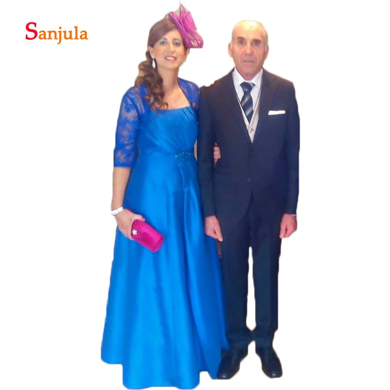Royal Blue Satin A-Line Mother of the Bride Dresses Strapless Pleats Lace Groom Mother Dress with 1/2 Sleeve Jacket D312
