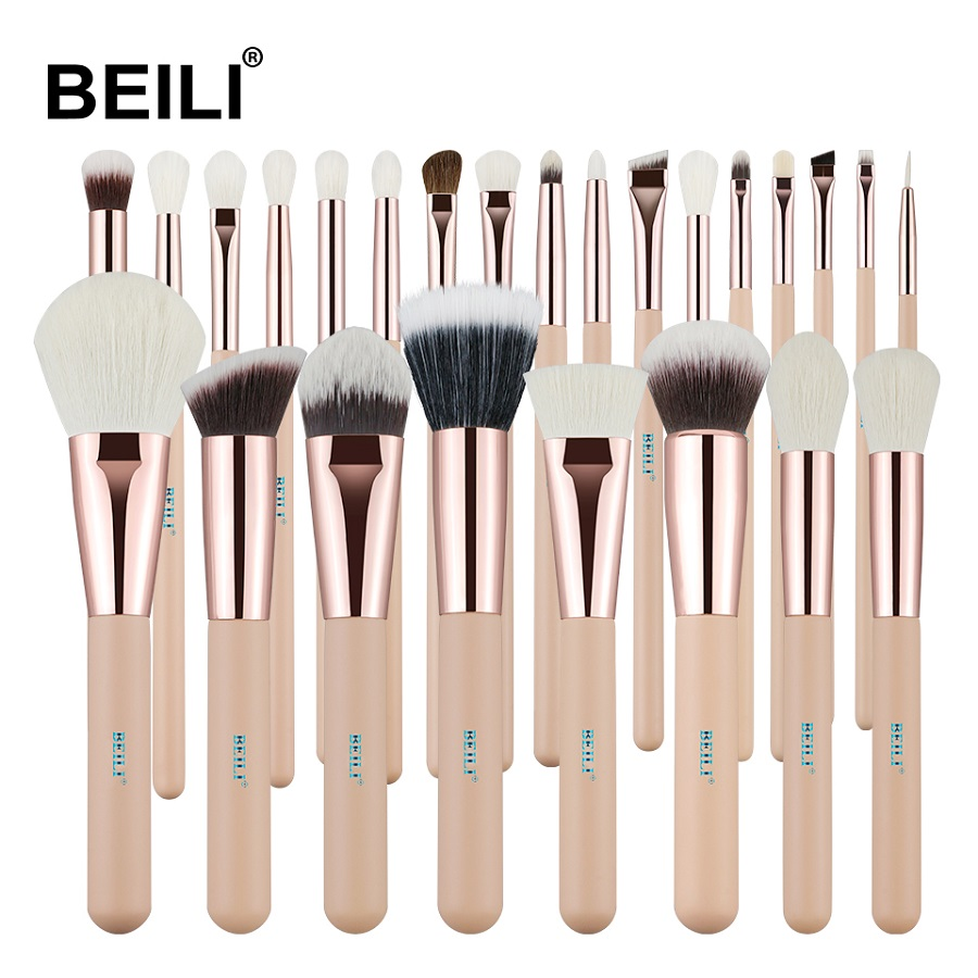 BEILI Pink 25 Pieces Natural goat hair Synthetic Wool fiber Powder Foundation Concealer Blusher Eye shadow Makeup Brush SetBEILI Pink 25 Pieces Natural goat hair Synthetic Wool fiber Powder Foundation Concealer Blusher Eye shadow Makeup Brush Set