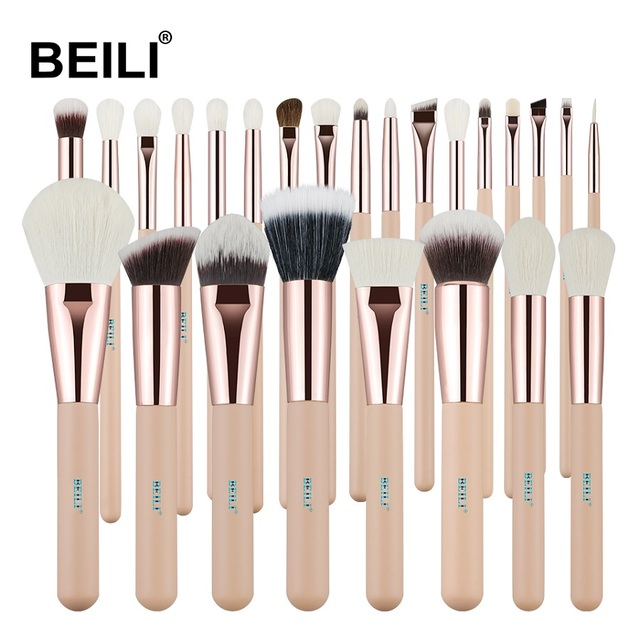 BEILI Rosa 25 piezas de pelo de cabra Natural lana sintética de fibra en polvo Fundación corrector colorete de sombra de ojos maquillaje cepillo conjunto
