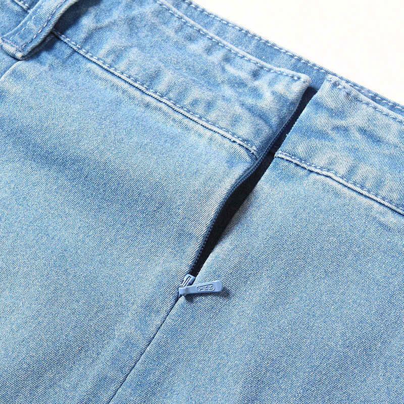 Sommer stilvolle denim röcke nähen spitze rock overknee große größe frauen schritt röcke NW18B2610
